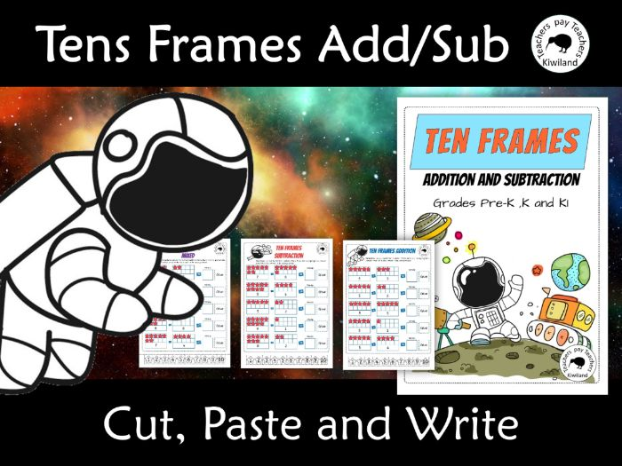 Tens Frames Addition and Subtraction Cut Paste and Write Space Themed