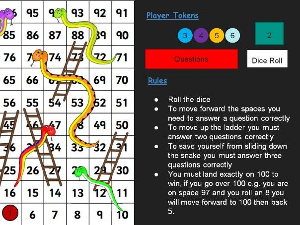 Snakes and Ladders interactive ppt