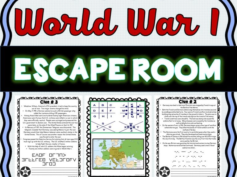 World War I ESCAPE ROOM: Woodrow Wilson, Treaty of Versailles, Allied Powers