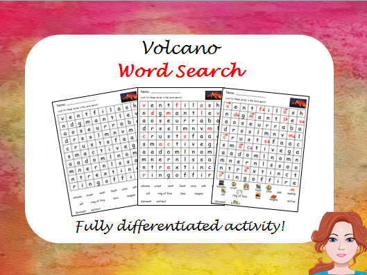 Volcano - wordsearch (differentiated)