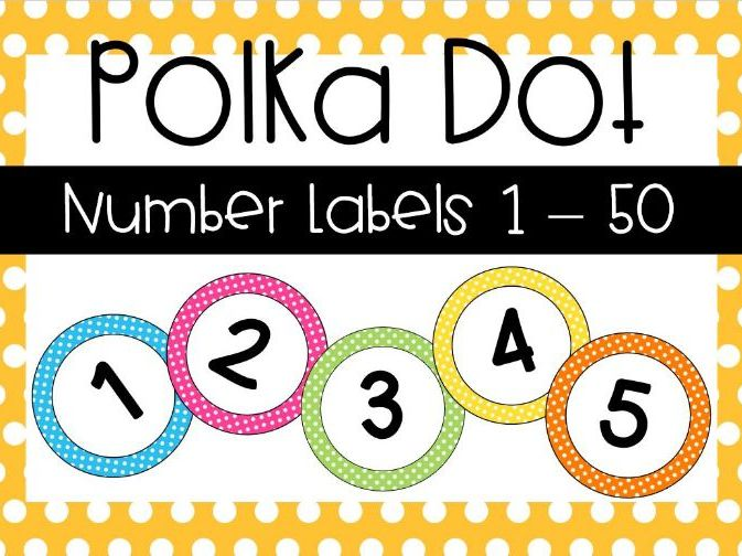 Polka Dot Number Labels 1-50