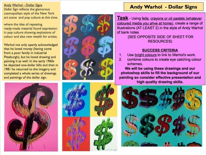 Andy Warhol Dollar Sign Cover Lesson / Homework Task  Pop Art