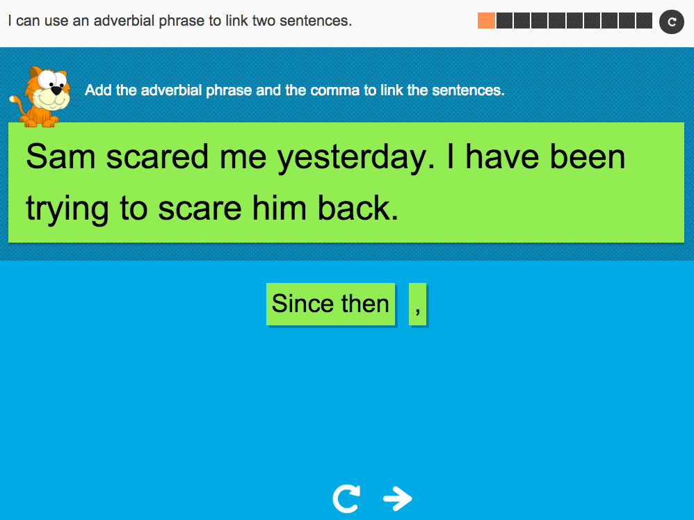 I can use adverbial phrases to link two sentences - Interactive Activity - Year 5 Spag