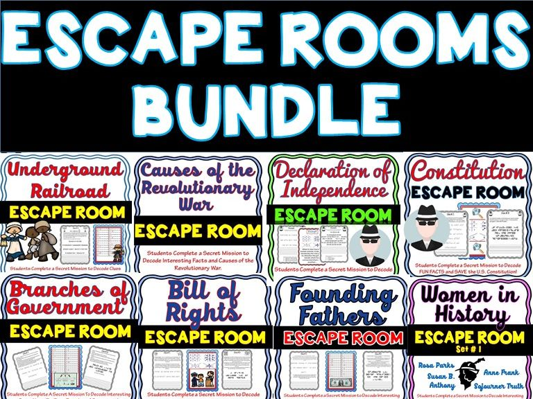 10 Pack Escape Rooms Activity Bundle: Bill of Rights,Civil War, MLK,Constitution