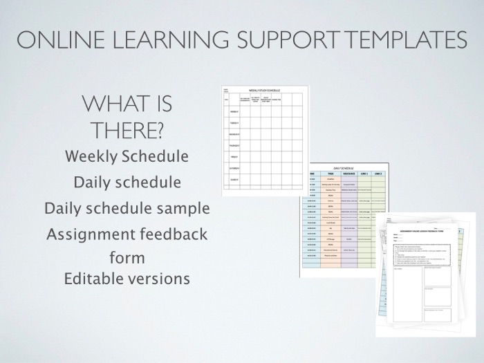 Online Learning Support Templates