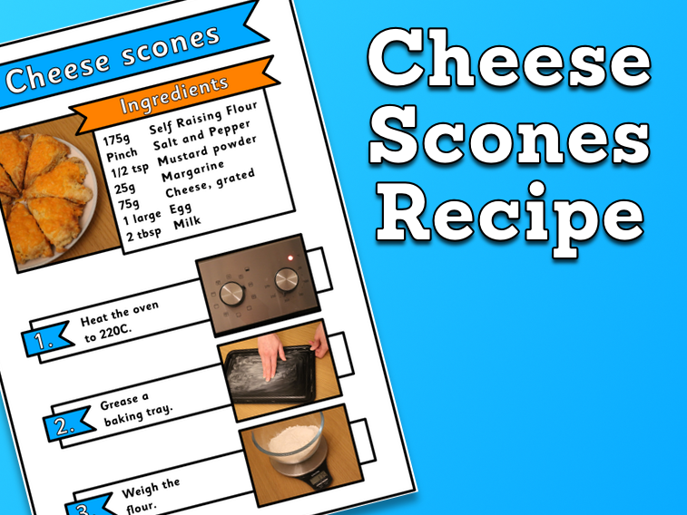 Cheese Scones Recipe sheets (with pictures)