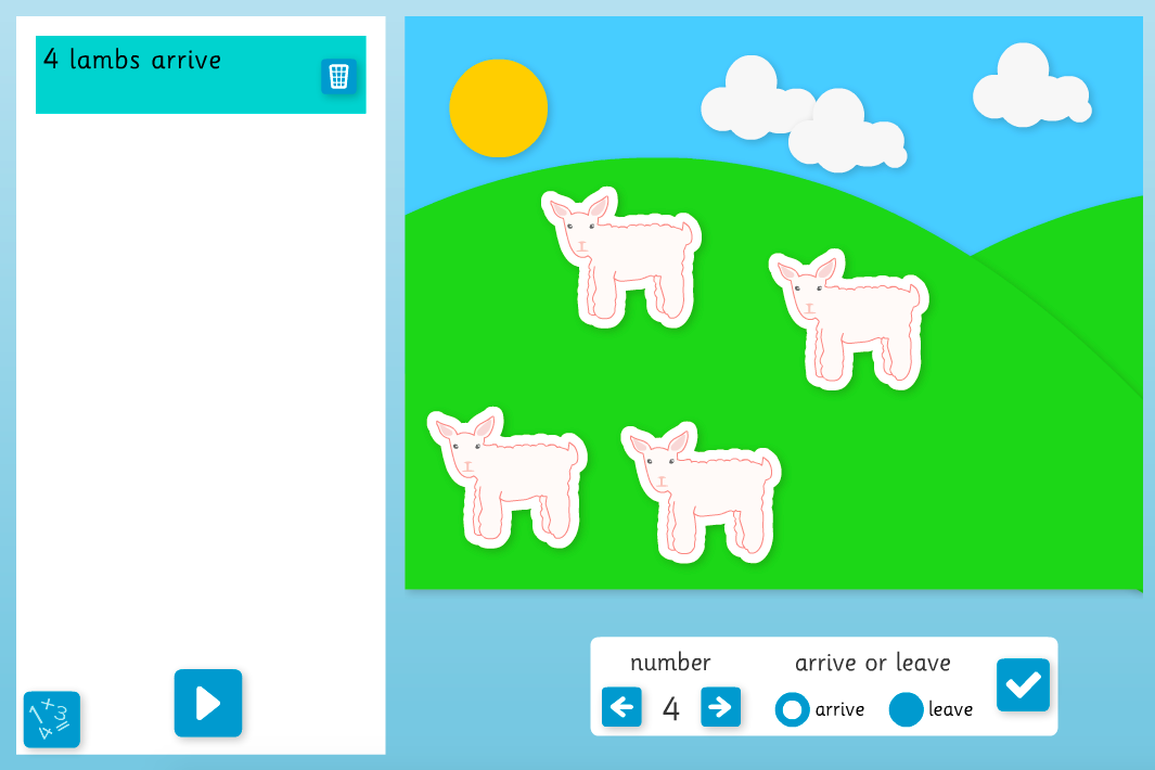 Addition to 10 - More/Less Number Story Interactive Tool - KS1 Number