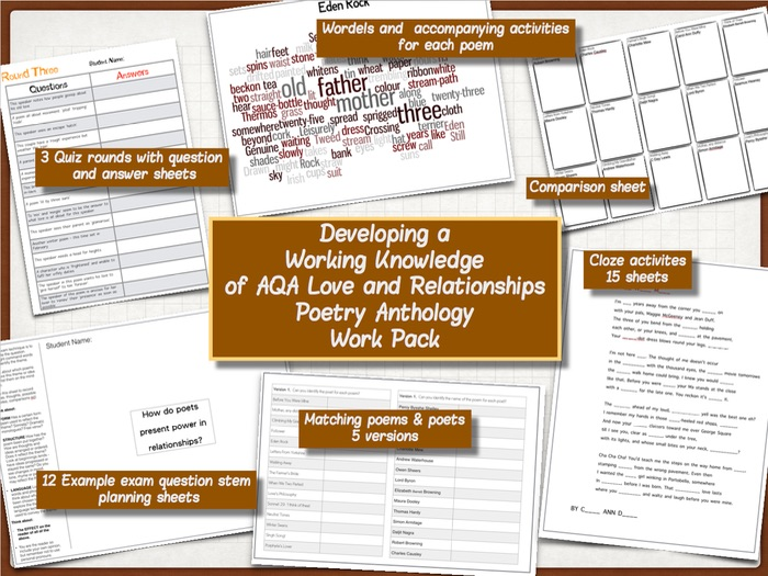 Developing a Working Knowledge of AQA Love & Relationships Anthology