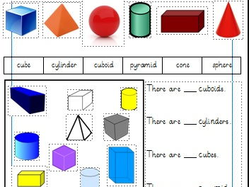 3D Shapes Differentiated Worksheets Year 1 (White Rose)