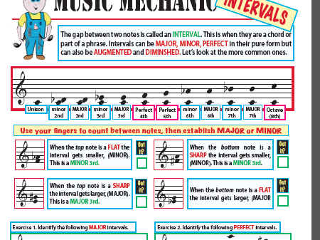 Music Intervals: Facts and worksheet