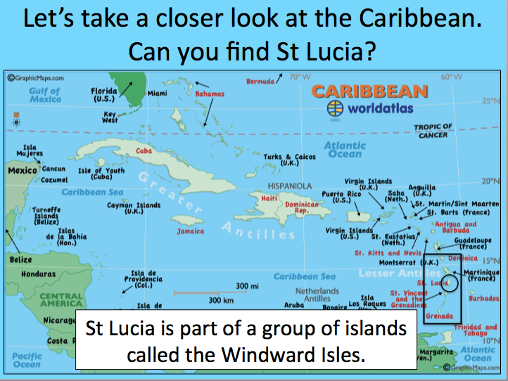 Locating St Lucia in the Caribbean
