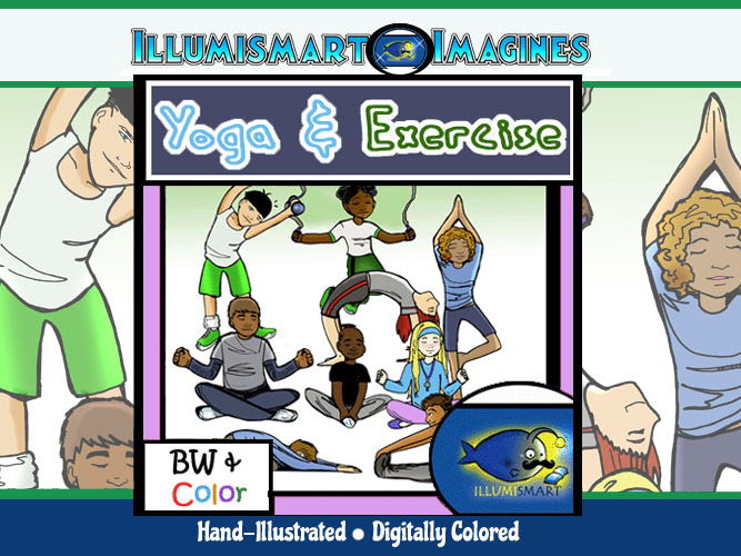 Yoga and Exercise ClipArt! 18 Pieces BW/Color