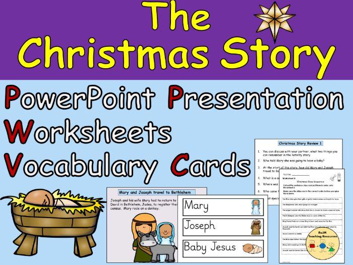 Christmas Story Nativity Birth of Jesus Presentation Worksheets