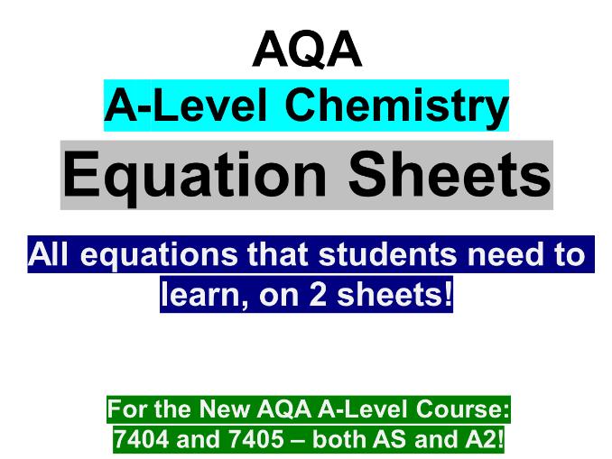 AQA A-Level Chemistry Equations Sheet