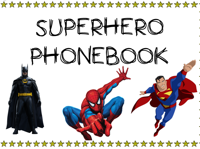 photo relating to Printable Phonebook identify SUPERHERO Cell phone Reserve (Part Enjoy Place Instrument)