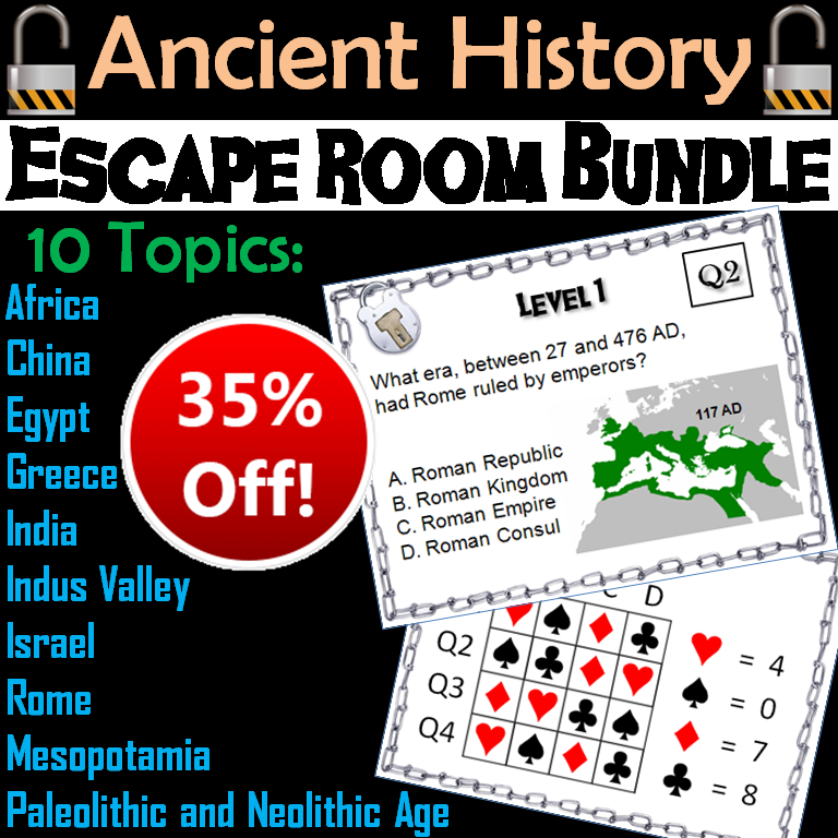 Ancient History Escape Room: Social Studies Bundle