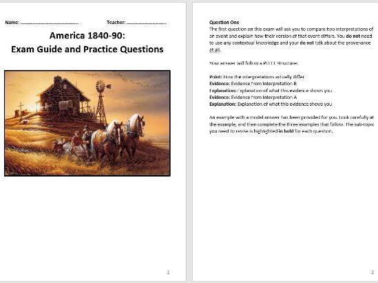 America 1840-1895 Exam Guide and Practice Questions (AQA 9-1)