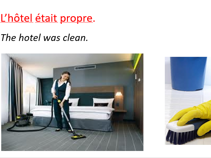Describing a hotel in French (past tense holidays)