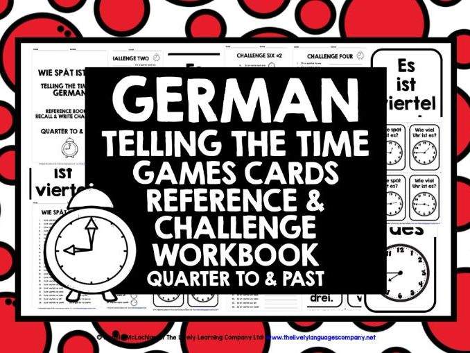 GERMAN TELLING TIME CARDS & WORKBOOK 2