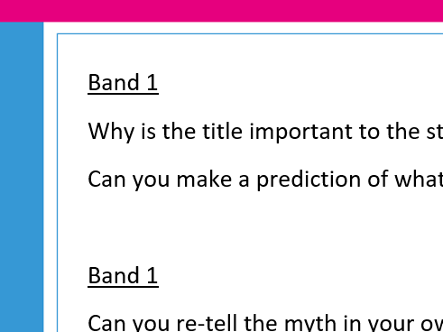 Banded Myths & Legend Guided Reading questions