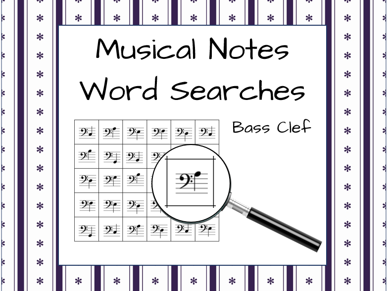Bass Clef Musical Note Word Searches