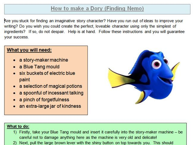 Year 5 /6 - Instructions - Model text - 'How to Make a Dory' with 3 differentiated comprehensions.