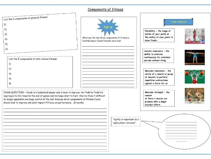 Components of fitness: BTEC Sport Unit 1 (2018) Worksheets