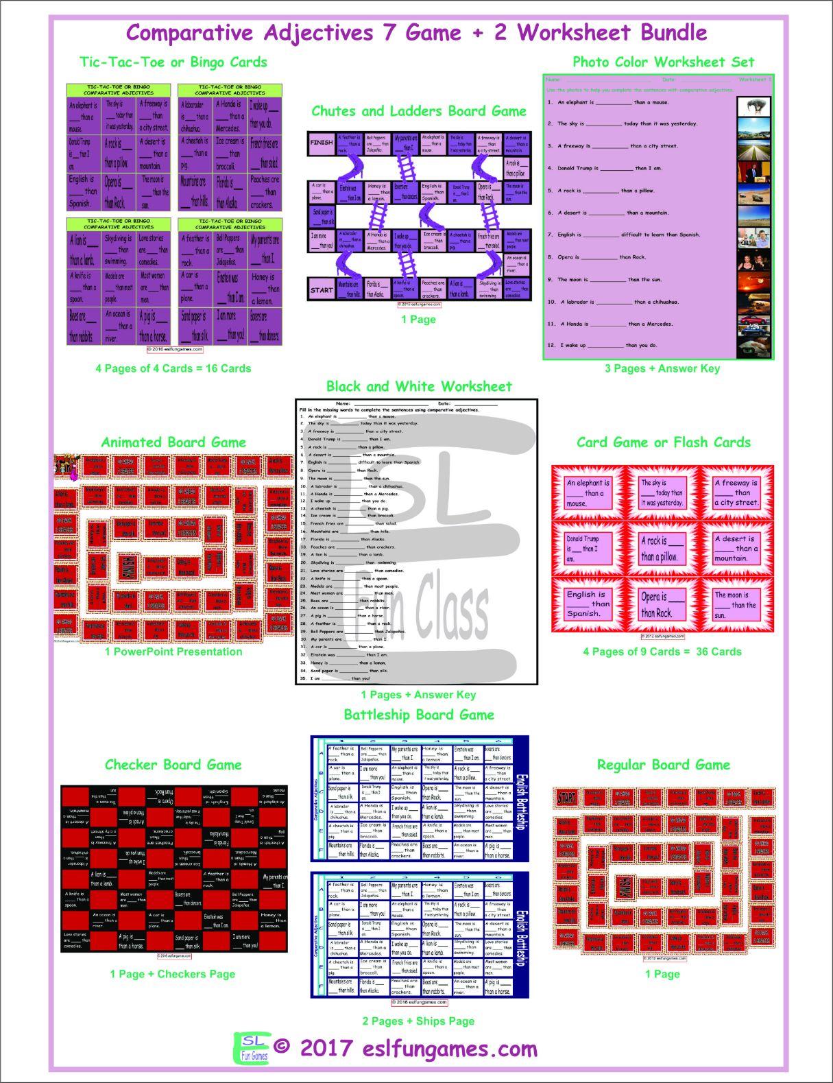 Comparative Adjectives 7 Game Plus 2 Worksheet Bundle