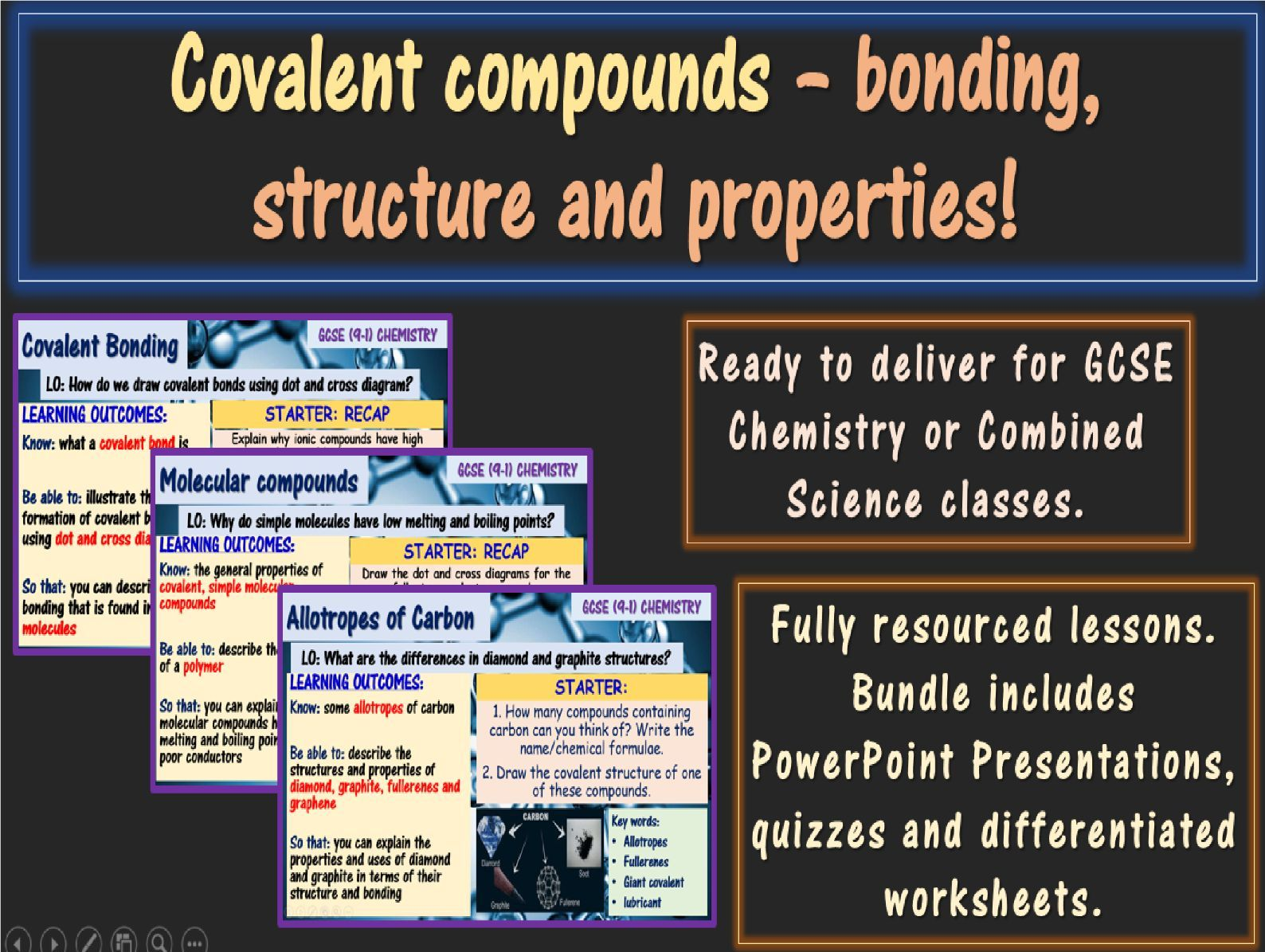 Covalent compounds GCSE Chemistry Bundle