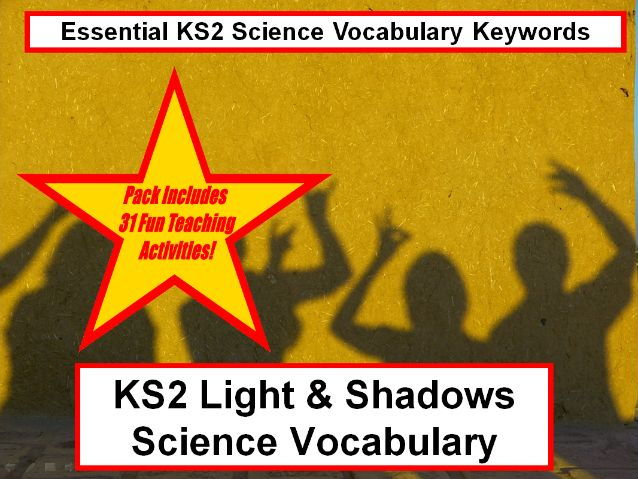 KS2 Light & shadows Science Vocabulary + Flashcards + 31 Fun Teaching Activities To Use In Class