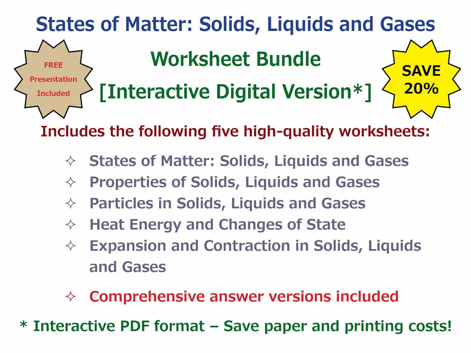 States of Matter: Solids, Liquids and Gases [Worksheet Bundle ...