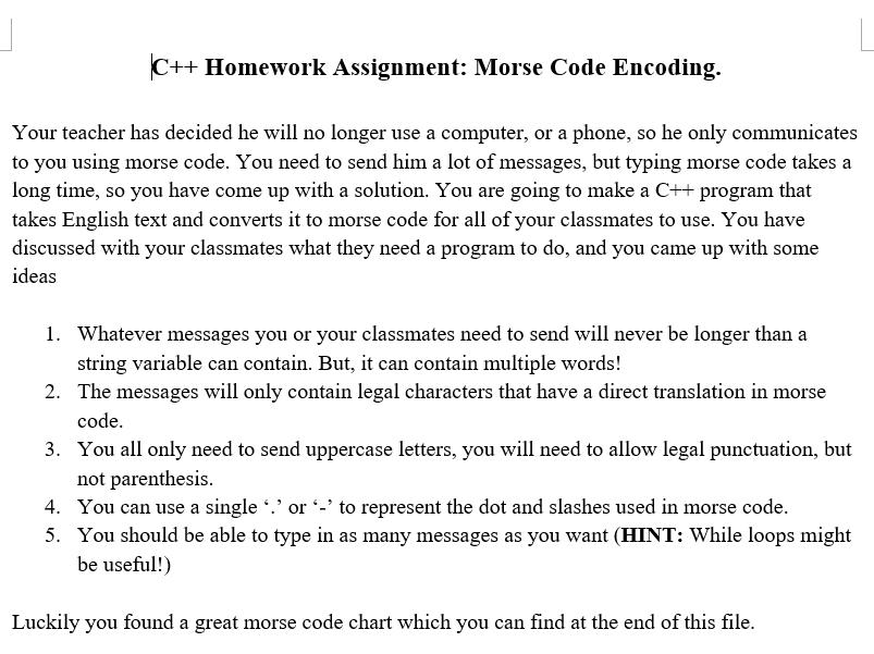 C++ Beginner Programming Assignment: Make a Morse Code Encoder