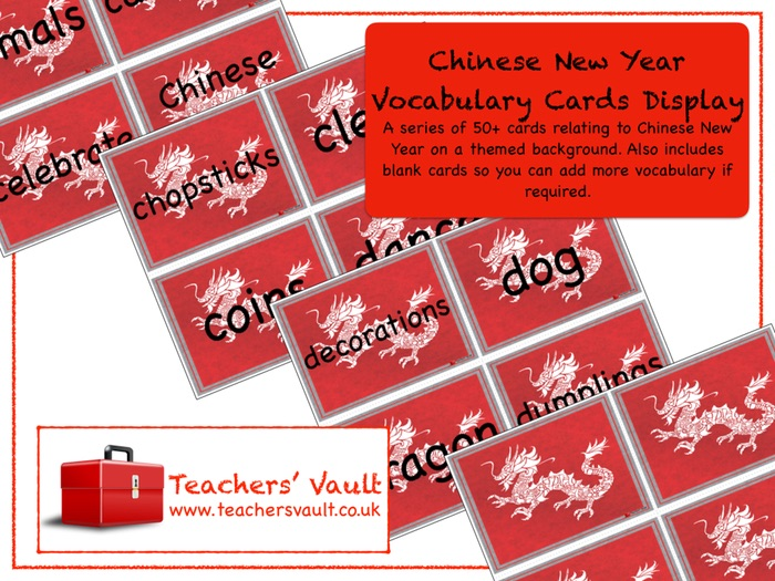 Chinese New Year Vocabulary Cards Display