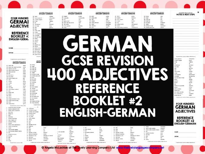 GCSE GERMAN: GERMAN ADJECTIVES REFERENCE #2