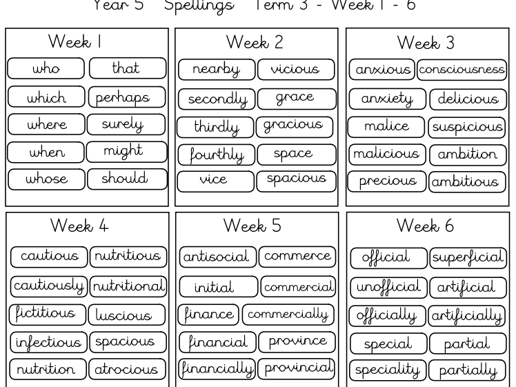 Year 5 Spelling Homework Term 3  (12 weeks)
