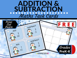 FREE-Addition and Subtraction Maths Task Cards