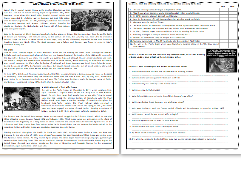 A Brief History Of World War II - Reading Comprehension Worksheet / Text