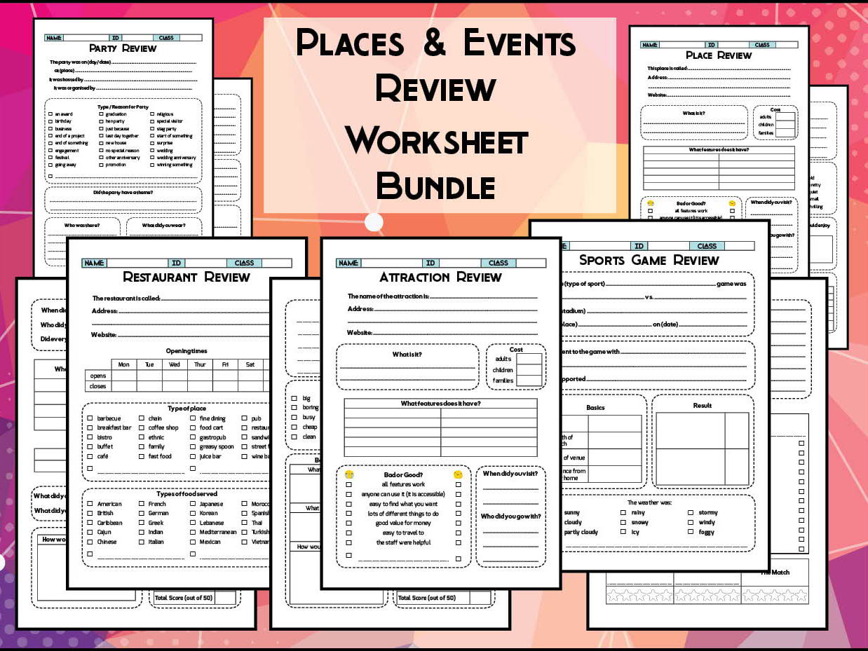 Places & Events Review Worksheet Bundle