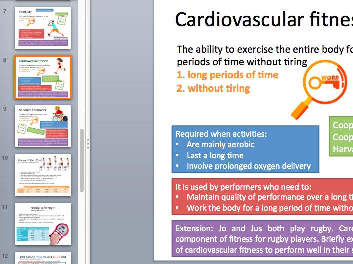 Components of fitness resource cards and tests. Edexcel new specification 9-1.