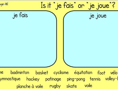 Sports in French - SmartBoard games