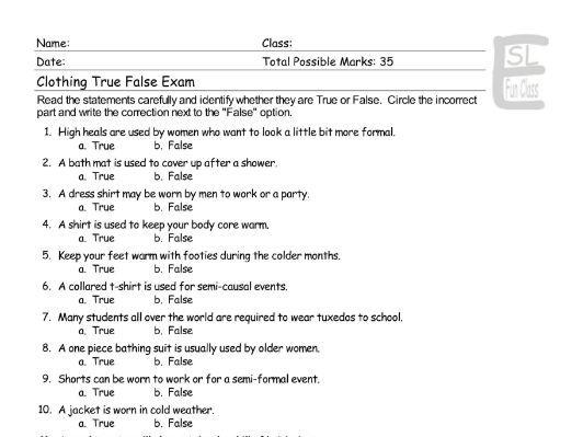 Clothing True False Exam