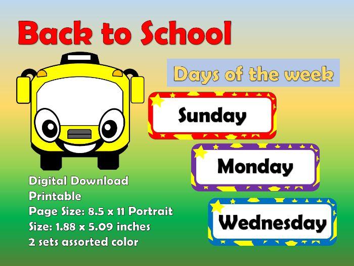 Days of the week (Printable)