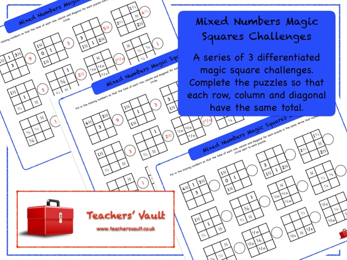 Mixed Numbers With Fractions Magic Squares Challenges
