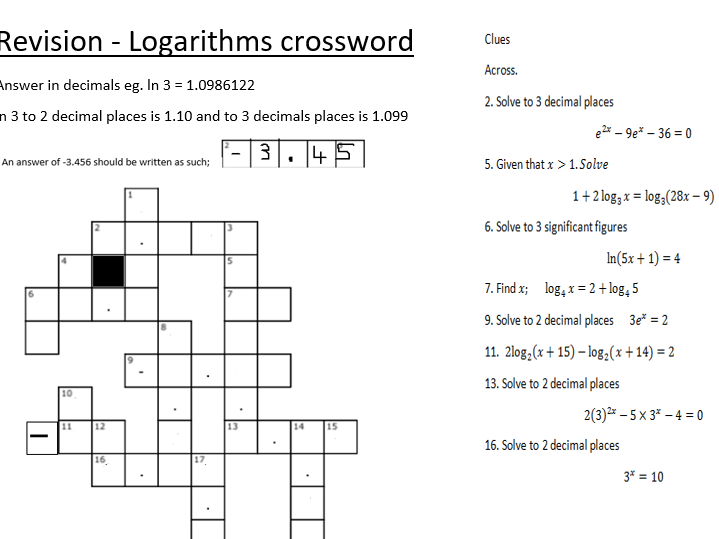 Logarithms, indices, exponential and ln  (+crossword) notes, full solution   (+activities).