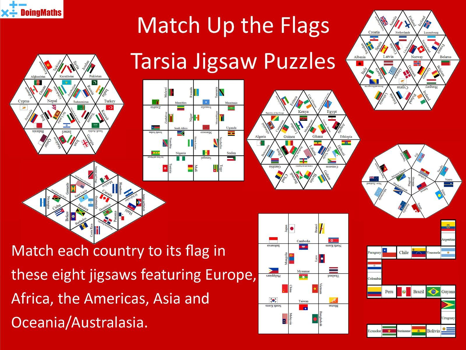 Flags of the World Match-up Jigsaws - 8 Puzzle set