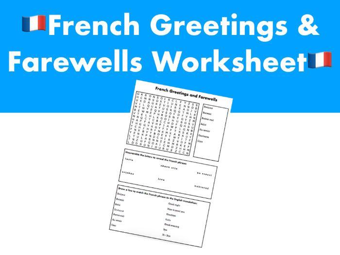 French Greetings & Farewells Worksheet