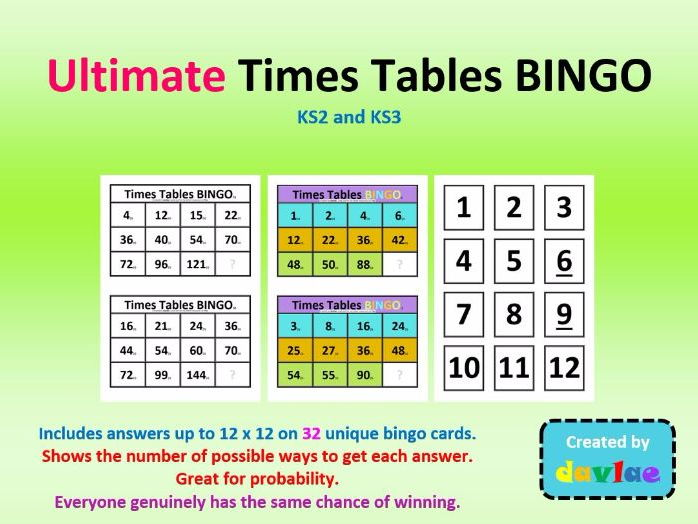 Ultimate Times Tables Maths BINGO for KS2 and KS3  / Useful for probability
