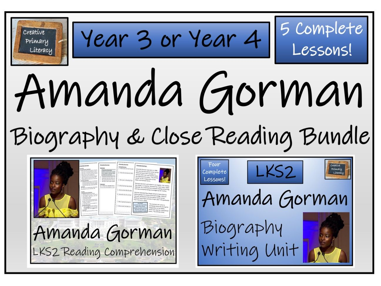LKS2 - Amanda Gorman Reading Comprehension & Biography Bundle