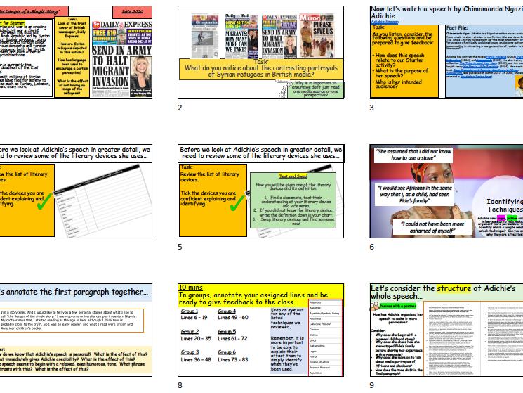 'The Danger of a Single Story' Edexcel IGCSE English Language (3 Lessons)
