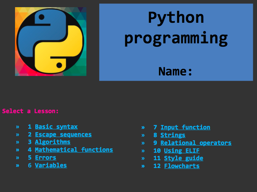 Python Programming activity PPT